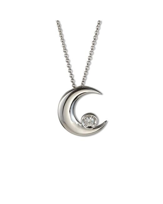 Charles & Colvard - Metallic Forever Classic Round 3mm Moissanite Moon Pendant Necklace - Lyst