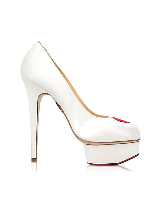 Charlotte Olympia - Delphine White And Red Satin Platform Pump - Lyst