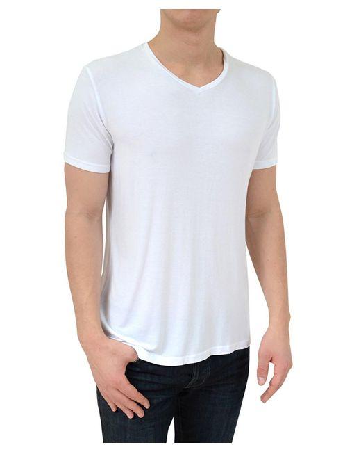 Stone Rose - Soft White V-neck Modal T-shirt for Men - Lyst