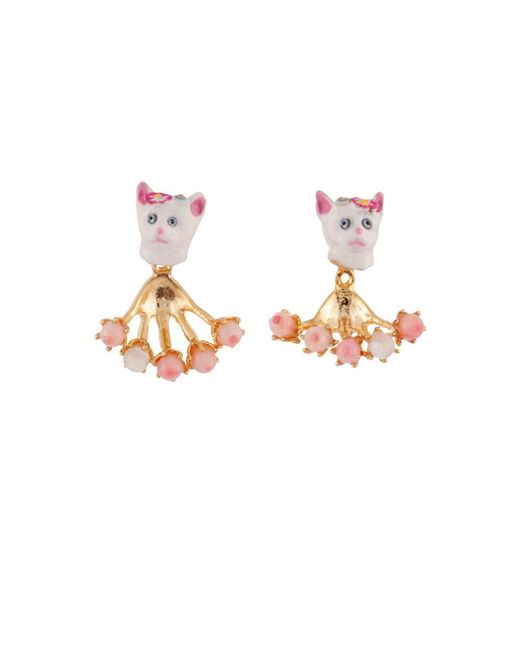 Les Nereides | White Little Cats Face And Removable Pearly Clasp Earrings | Lyst