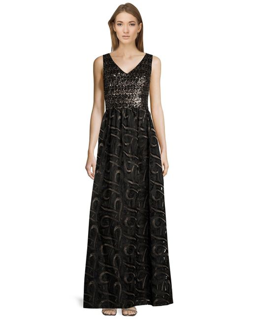 David Meister - Black Embellished V-neck Sleeveless Gown - Lyst