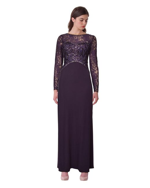 Sue Wong | Purple Sequined Lace Evening Gown | Lyst