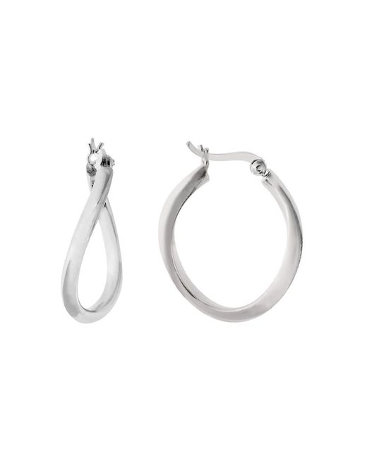 JewelryAffairs - White Sterling Silver Rhodium Plated Wavy Oval Hoop Earrings, Diameter 25mm - Lyst