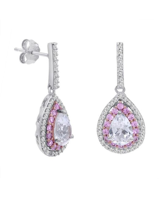 Amanda Rose Collection | Metallic Lab Grown Pink And White Sapphire Dangle Tear Drop Earrings In Sterling Silver | Lyst