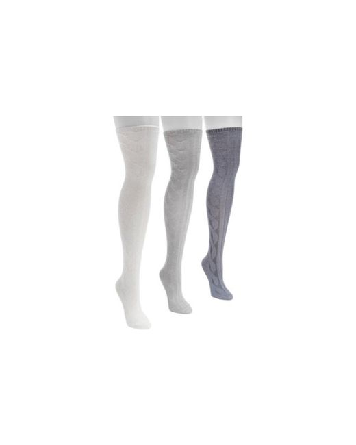 11f851dd9 ... Muk Luks - Gray Women s Cable Knit Over The Knee Socks 3-pack - Lyst