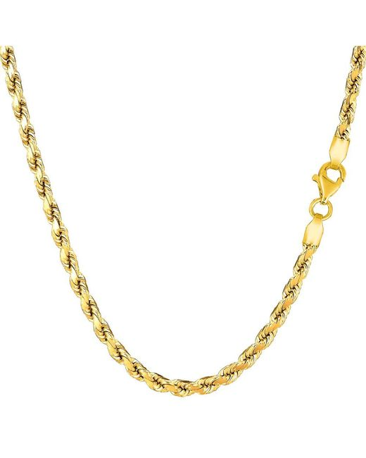 JewelryAffairs - 14k Yellow Gold Solid Diamond Cut Royal Rope Chain Necklace, 3.5mm, 30 Inch - Lyst