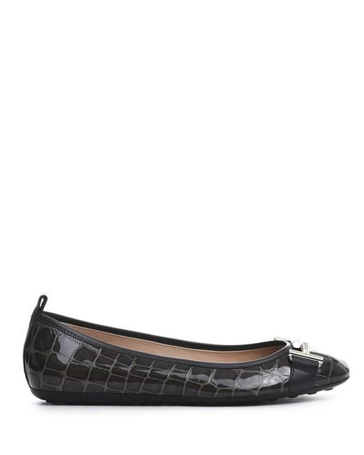 Tod's | Gray Women's Grey Patent Leather Flats | Lyst