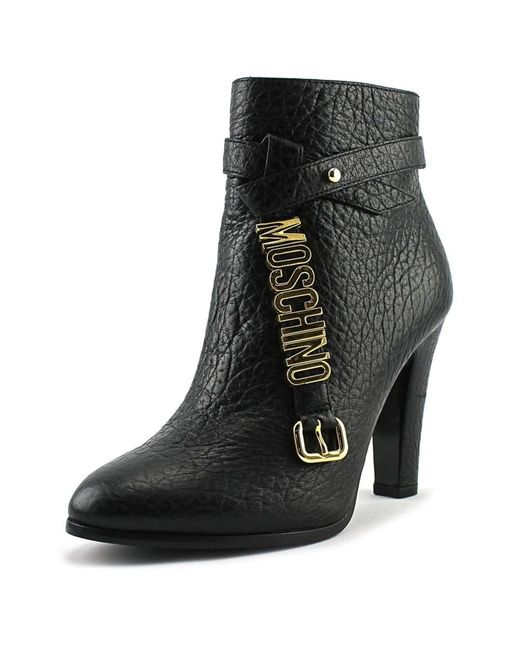 Moschino   Taglia Women Round Toe Leather Black Ankle Boot   Lyst