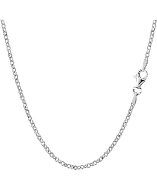 JewelryAffairs | White Sterling Silver Rhodium Plated Rolo Chain Necklace, 1,8mm, 16 Inch | Lyst