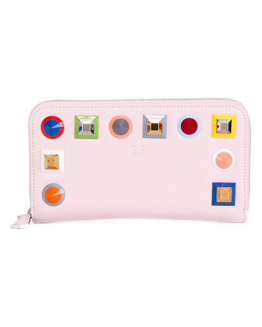 Fendi - Women's 8m0299sr0f07he-mcf Pink Leather Wallet - Lyst