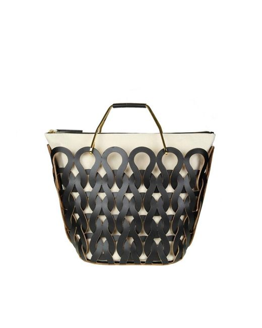 Marni - Women's White/black Leather Tote - Lyst