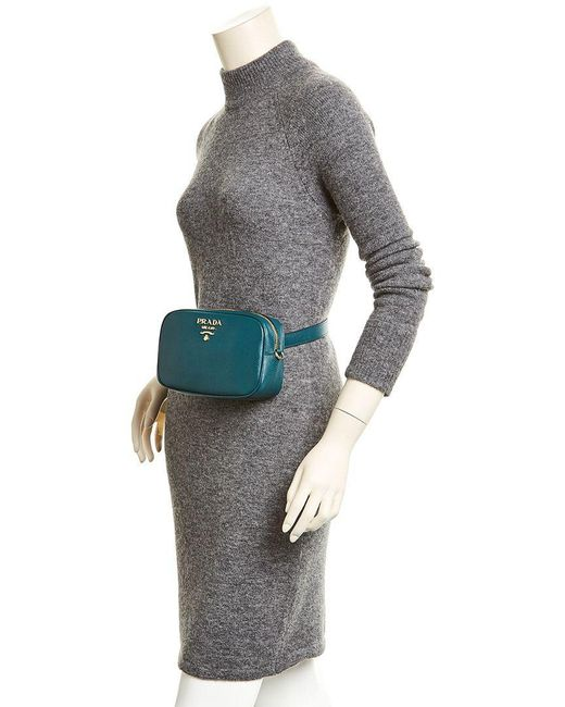 4d7bbbe5d487 ... Prada - Green Saffiano Leather Belt Bag - Lyst