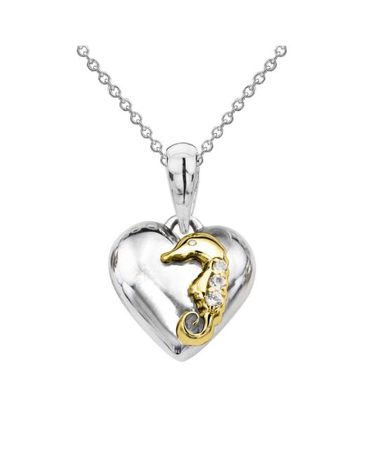 Tia Collections - Yellow Gold Seahorse On A White Gold Puffed Heart 14kt Gold & Diamond Pendant - Lyst