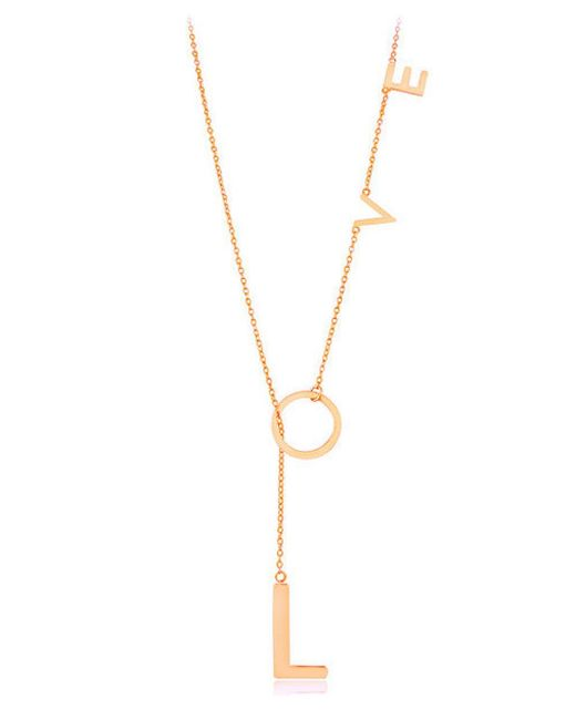 Adornia - Pink Rose Gold Vermeil Love Lariat Necklace - Lyst