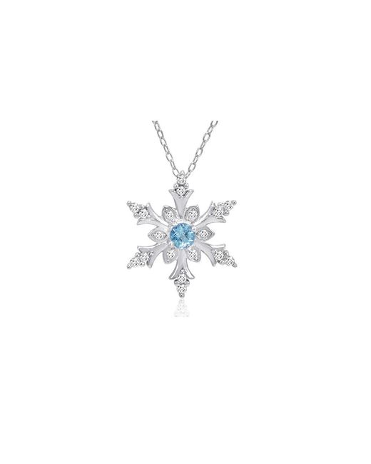 Amanda Rose Collection - Swiss Blue And White Topaz Snowflake Pendant-necklace In Sterling Silver - Lyst