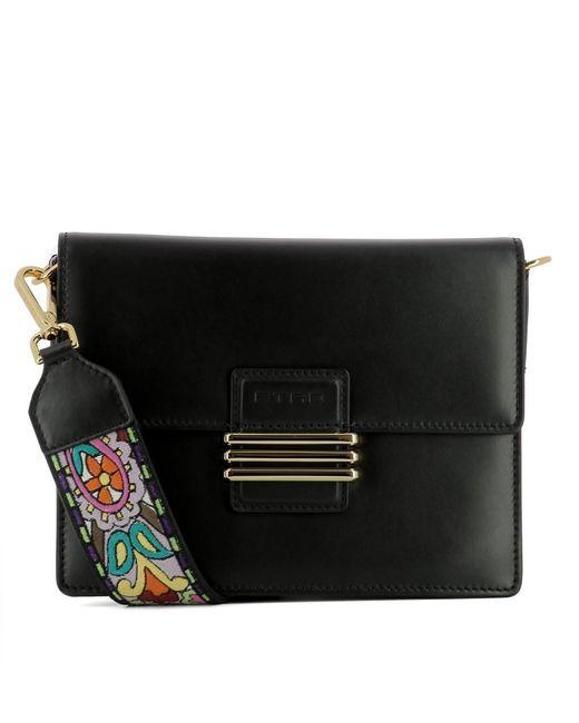 Etro   Women's Black Leather Shoulder Bag   Lyst