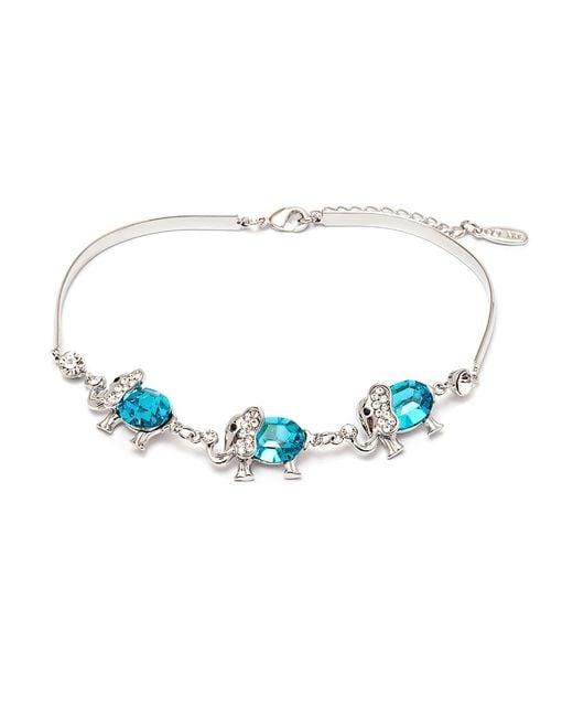 Peermont - Blue Silver And Aquamarine Crystal Elements Triple Elephant Bracelet - Lyst