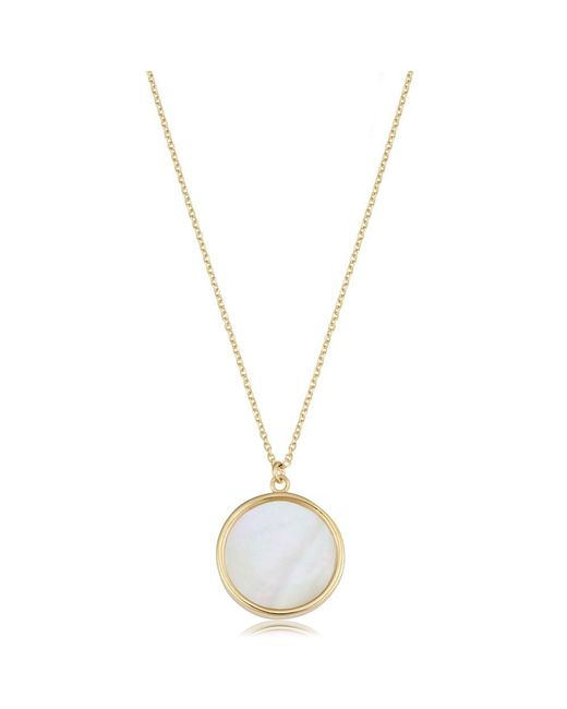 JewelryAffairs - 14k Yellow Gold Mother Of Pearl Disc Necklace, 18 - Lyst