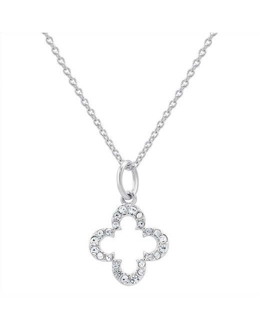 Amanda Rose Collection | Metallic Petite Cubic Zirconia Clover Necklace In Sterling Silver On A 17 In. Chain | Lyst