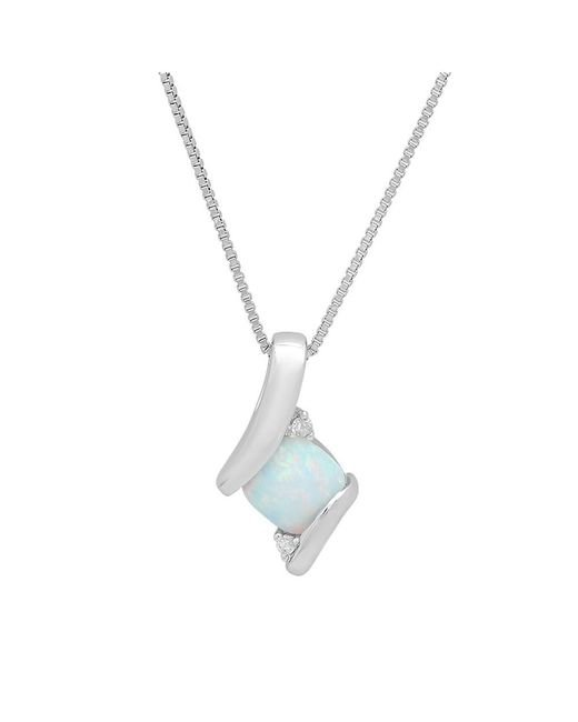 Amanda Rose Collection - Metallic Sterling Silver Created Gemstone And Natural Diamond Pendant-necklace On An 18 Inch Sterling Silver Chain - Lyst