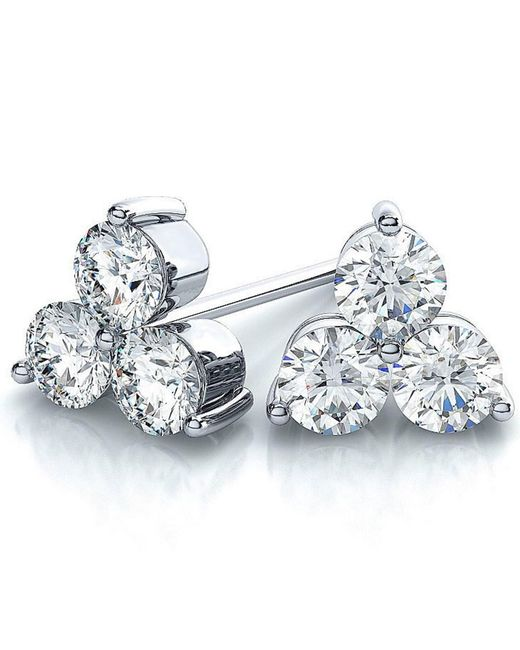 Suzy Levian - 14k White Gold 3-stone Diamond Cluster 2/5ct Tdw Stud Earrings - Lyst