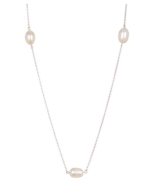 Adornia - White Sterling Silver And Pearl Necklace - Lyst