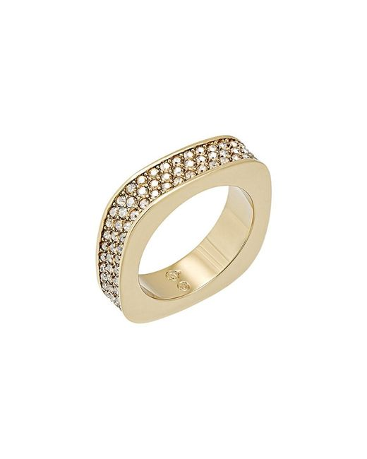 Swarovski - Metallic Crystal Vio Plated Stainless Steel Ring - Lyst