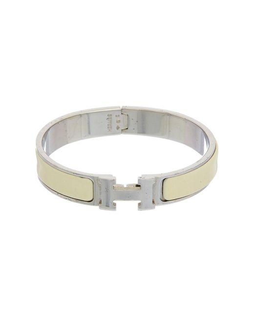 Hermès - Metallic Cream Enamel Narrow Clic-clac H Bracelet - Lyst