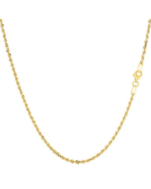 JewelryAffairs - 14k Yellow Gold Solid Diamond Cut Royal Rope Chain Necklace, 1.25mm, 24 Inch - Lyst