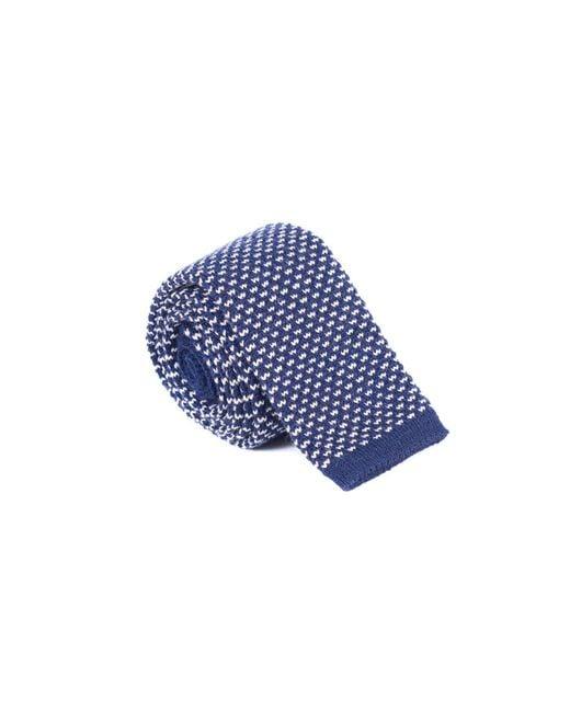Brunello Cucinelli - Blue Men's Navy Wool Skinny Knit Tie for Men - Lyst