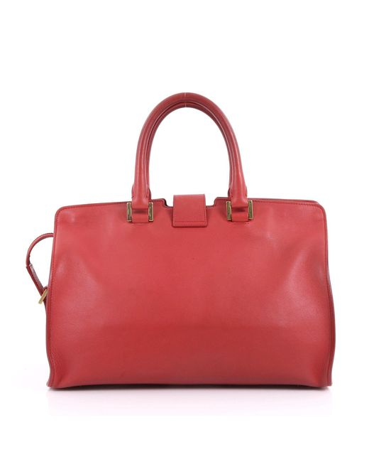 9593635208a2 ... Saint Laurent - Red Pre Owned Classic Y Cabas Leather Small - Lyst ...