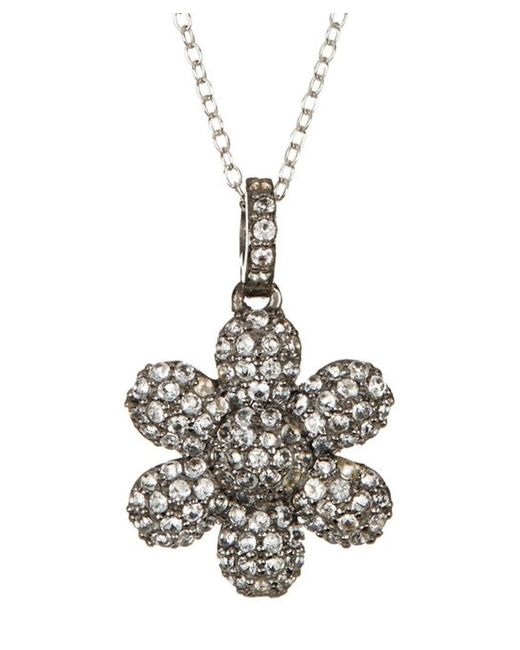 Adornia - White Topaz And Sterling Silver Flower Power Pendant Necklace - Lyst