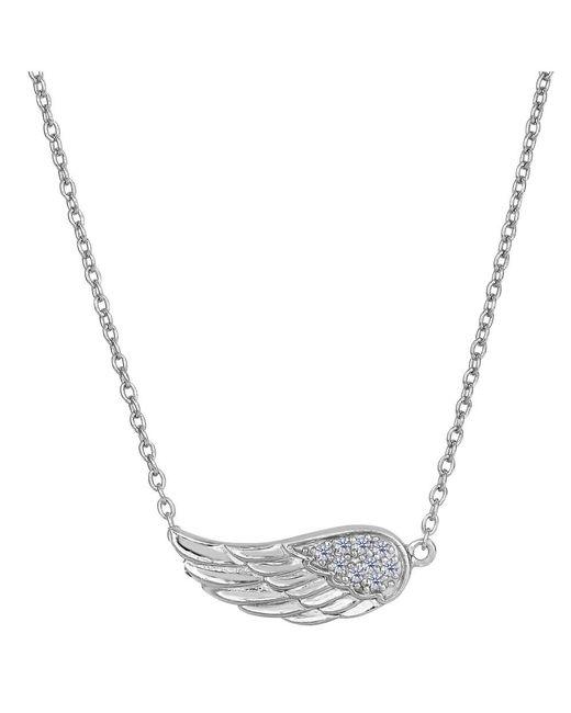 JewelryAffairs - White Sterling Silver Sideways Angel Wing Pendant Cz Fashion Necklace, 18 - Lyst