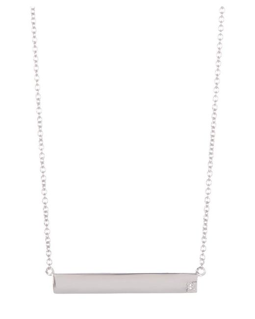 Adornia | Metallic Sterling Silver And Diamond Bar Necklace | Lyst