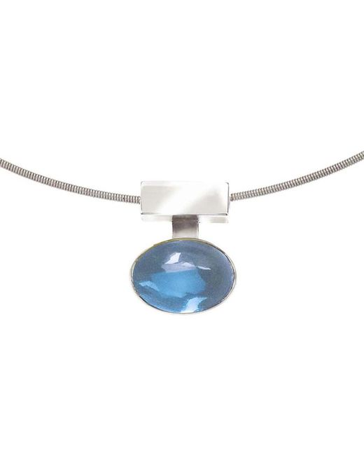 Jewelista | Interchangeable Blue Topaz & Silver Pendant | Lyst