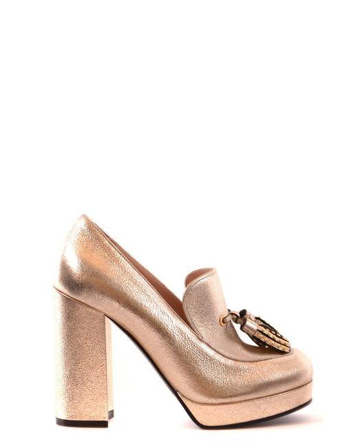 Pinko - Metallic Women's Gold Leather Heels - Lyst