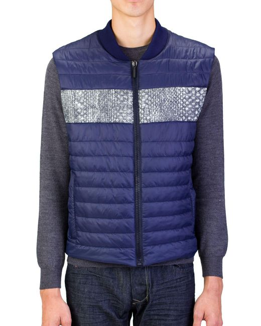 Roberto Cavalli - Blue Men Puffer Vest Jacket Navy for Men - Lyst