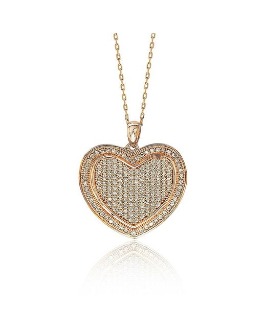 Suzy Levian - Metallic Mother's Day 'loving Heart' Cubic Zirconia Sterling Silver Pendant - Lyst