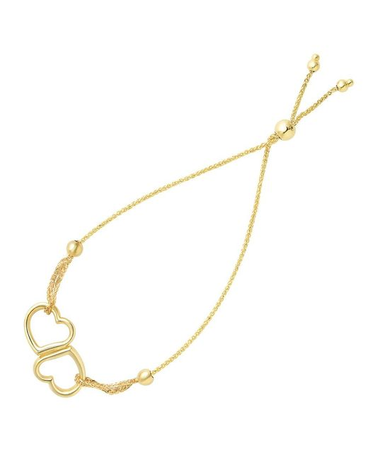 JewelryAffairs | Double Open Heart Center Element Bolo Friendship Bracelet In 14k Yellow Gold, 9.25 | Lyst