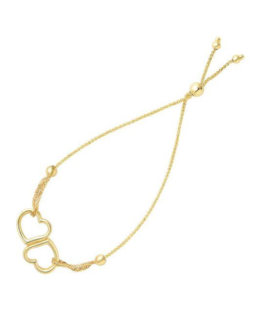 JewelryAffairs - Double Open Heart Center Element Bolo Friendship Bracelet In 14k Yellow Gold, 9.25 - Lyst