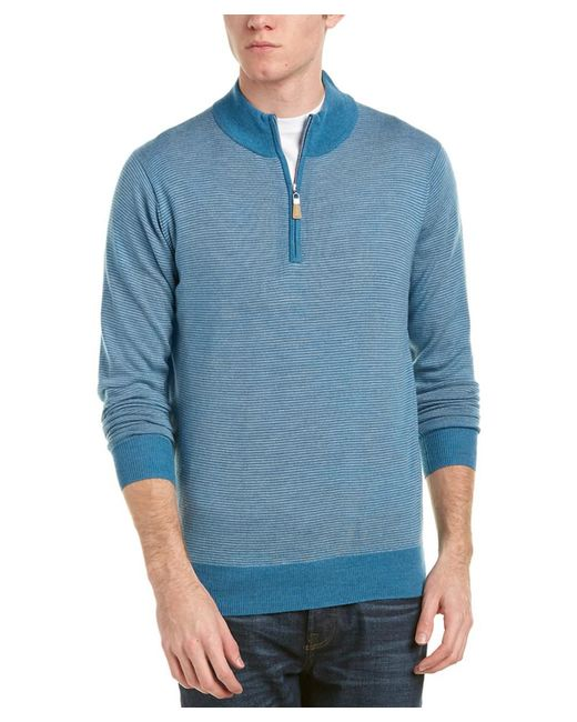 Peter Millar - Blue 1/4-zip Mock Merino Wool Sweater for Men - Lyst