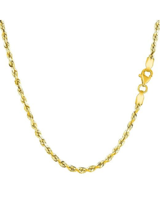 JewelryAffairs - 14k Yellow Gold Solid Diamond Cut Royal Rope Chain Necklace, 2.5mm, 30 Inch - Lyst