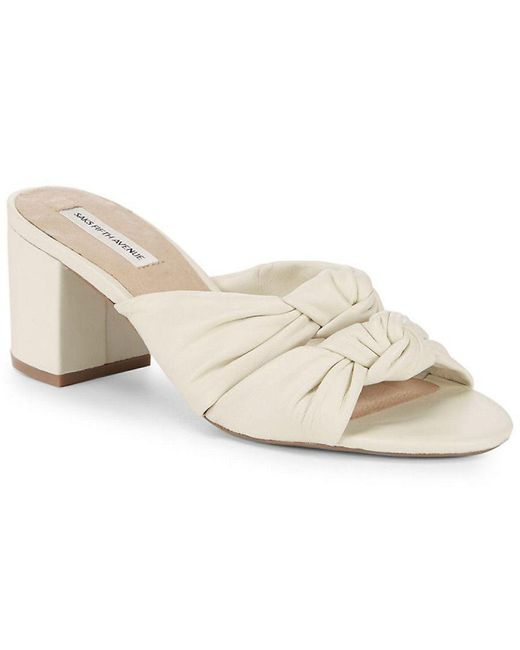 Saks Fifth Avenue - White Knot Leather Sandals - Lyst