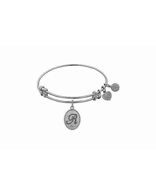 Angelica - White Initial Bangle-r - Lyst