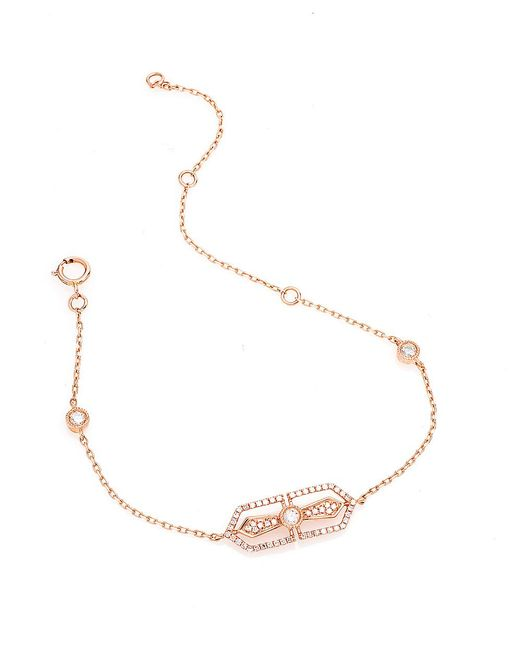 CR By Casa Reale | Pink 14 K White Diamond Horizantal Filagree Cross Chain Bracelet | Lyst