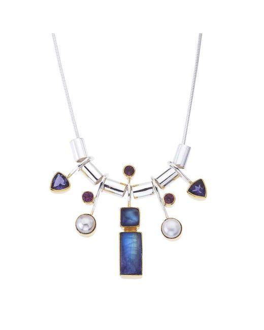 Jewelista - White Sterling Silver Gemstone Necklace - Lyst