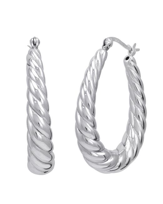 Amanda Rose Collection - Metallic Sterling Silver Braided Oval Shaped Hoop Earrings - Lyst
