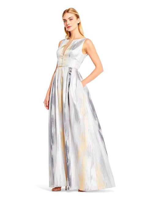 Aidan Mattox - Metallic Fully Beaded Godet Gown - Lyst