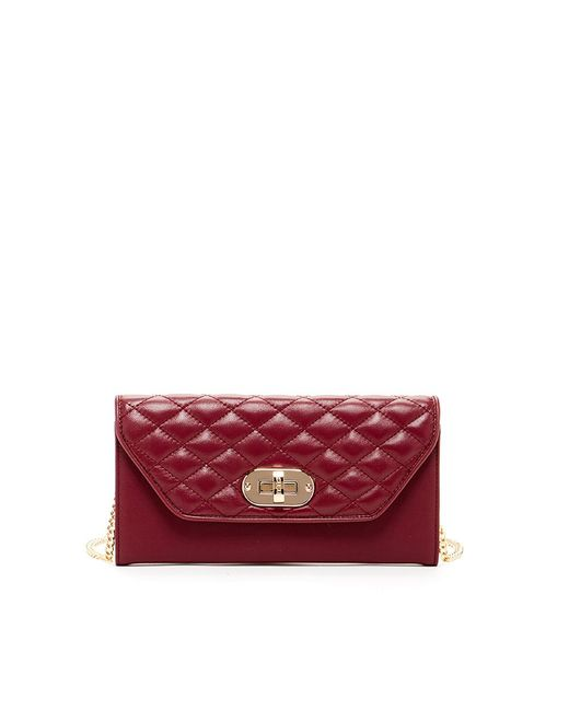 Susu - Red 'faye' Quilted Envelope Clutch Crossbody Leather Wallet Burgundy - Lyst