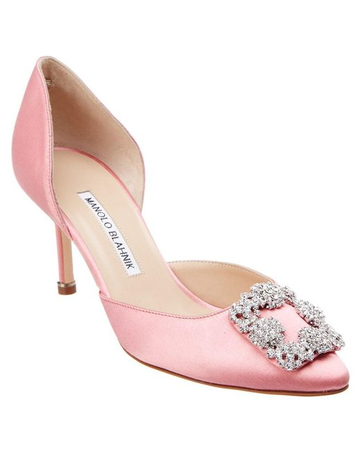 Manolo Blahnik | Pink Hangisi Do 70 Satin Jewel Buckle Pump | Lyst